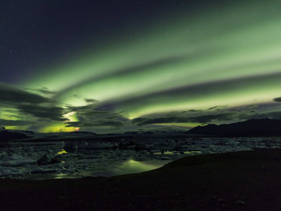 Jökulsárlón unter Polarlicht